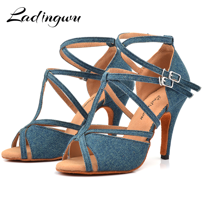 Ladingwu Denim Fabric Dance Shoes Salsa Woman's Heel 6-10cm Profession Latin Shoes Dance Sandals Zapatos De Baile Latino Mujer