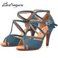 Ladingwu Denim Fabric Dance Shoes Salsa Woman's Heel 6 10cm Profession Latin Shoes Dance Sandals zapatos de baile latino mujer