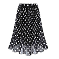 2017 Casual Polka Dots Printed Flared Tutu Circle Pleated Midi Skater Skirts High Waist  summer chiffon skirts for Women Saias