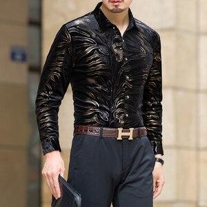 Image 5 - مو يوان يانغ جديد الرجال قمصان بأكمام طويلة مع عالية الجودة الفانيلا قميص أسود يتأهل ملابس رجالي 50% قبالة كبير حجم 3XL