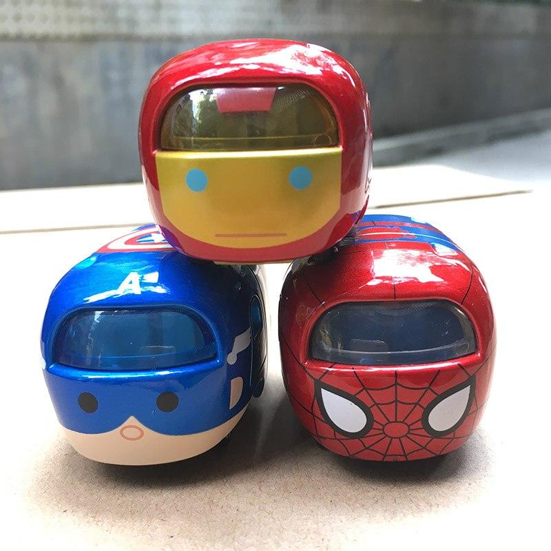 5 Cm Tsum Tsum Auto Aluminium Super Heros Iron Spider Man Captain America Mini Moving Auto Speelgoed Voor Verjaardag Kerstcadeau