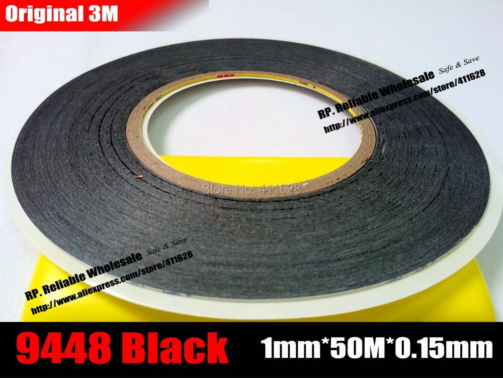 2 Rolls (1mm* 50M), Super Thin 3M Two Sides Adhesive Black Sticker For Iphone Ipad Tablet Phone Touch Screen Glass Gift Bag Seal