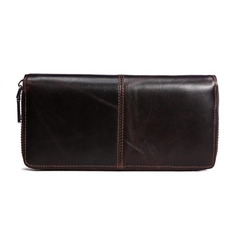 100% Genuine Leather Men Long Wallet Vintage Design Male Purse Mens Business Clutch Hand Bag Luxury Wallets Carteira Masculina