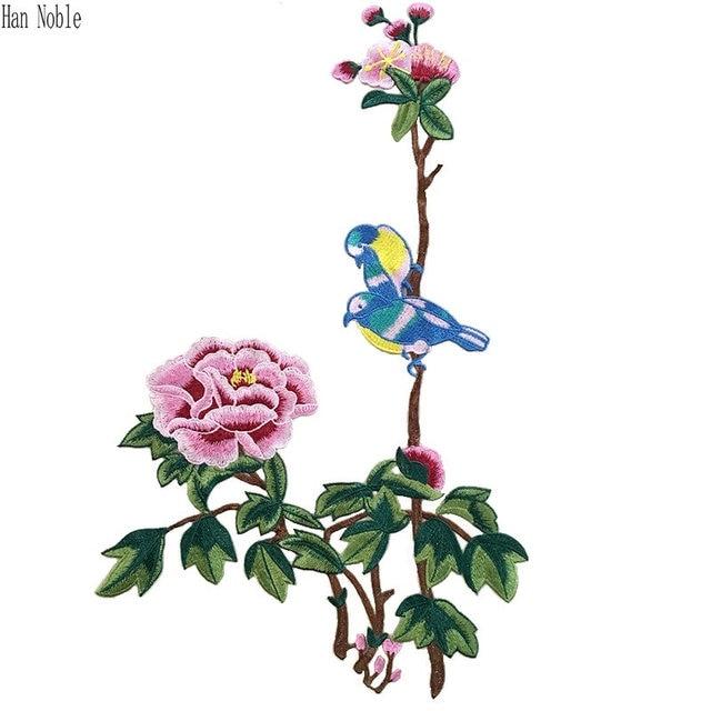 P359 1 unid Flores grandes aves Bordado Parches Costura para la ropa ...