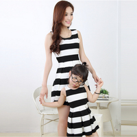 2015 Mother And Daughter Summer Dresses Family Matching Clothes Mum And Girl Black Horizontal Stripe Sleeveless