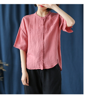 Stand collar short sleeved cotton linen shirt women retro loose solid color