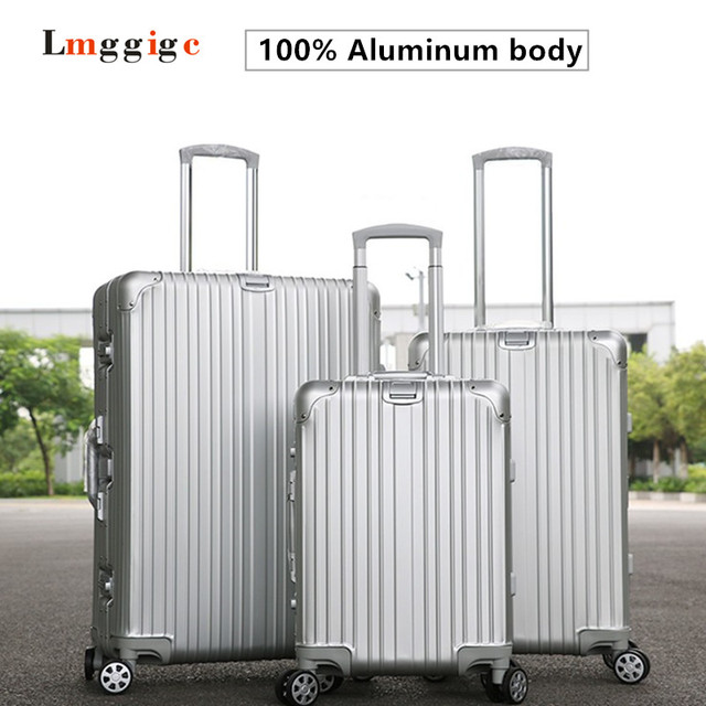 "20""24""28""inch Upgrade100% Full Aluminum Luggage with custom made Logo,Rivet reinforced Roller Suitcases,High quality Travel box"