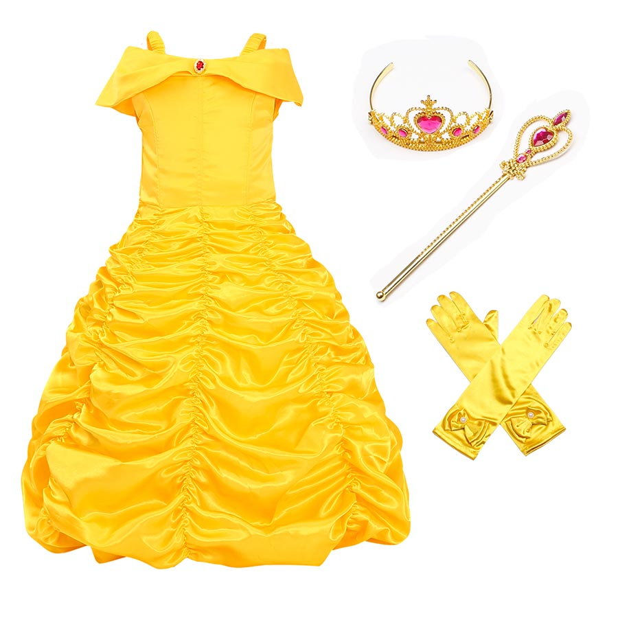 Girls Princess Belle Dress up Cosplay Costume Children Off Shoulder Yellow Party Ball Gown Halloween Dress with Crown Magic Wand