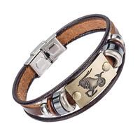 Alibaba hot selling europe fashion 12 zodiac signs bracelet with stainless steel clasp leather bracelet for.jpg 200x200