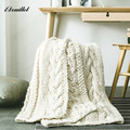 iDouillet Warm Chunky Knit Blanket Sweater Blankets Cable Crochet Throw for Bed Sofa Couch Chair Travel 130x160cm Ivory Camel