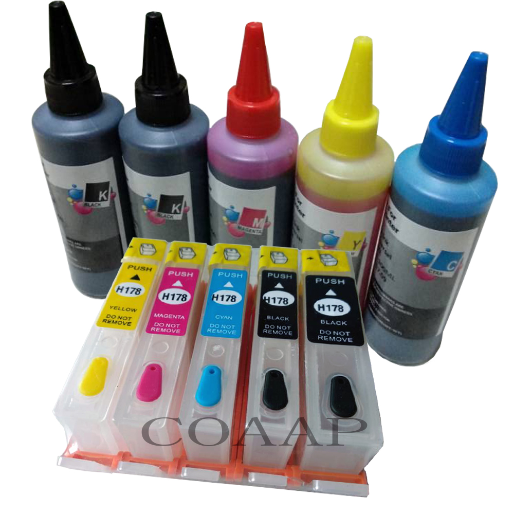 5 Refillable hp178 Empty cartridge 500ML Dye inks for HP Photosmart 5510 5515 5524 B109 B110