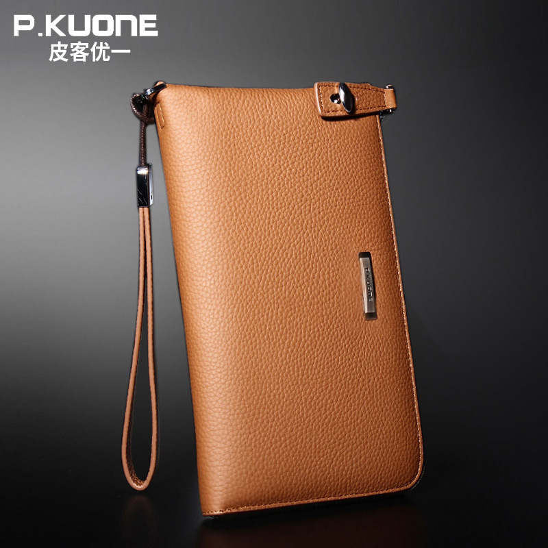 P.KUONE Brand Design Genuine Leather Men Wallet Burnished Leather Wallets Handmade Men Purse Credit Card Holder Cowhide Clutch gathersun brand handmade 2017 original design genuine leather men wallet vintage style large capacity long purse clutch wallet