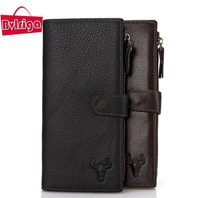 BVLRIGA Большой емкости из натуральной кожи бумажник долго молния держатель карты hasp кошелек бумажник мужчины бизнес кармана монету доллара цена