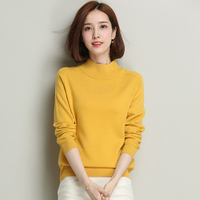 High Grade Pure Wool Women Sweater 2017 Autumn Winter Fashion All Match Soft Elastic Half Turtleneck