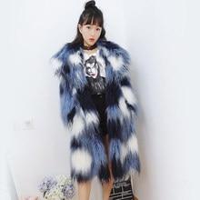 Women Turn-down collar Gradient color Faux Fur Coat N47