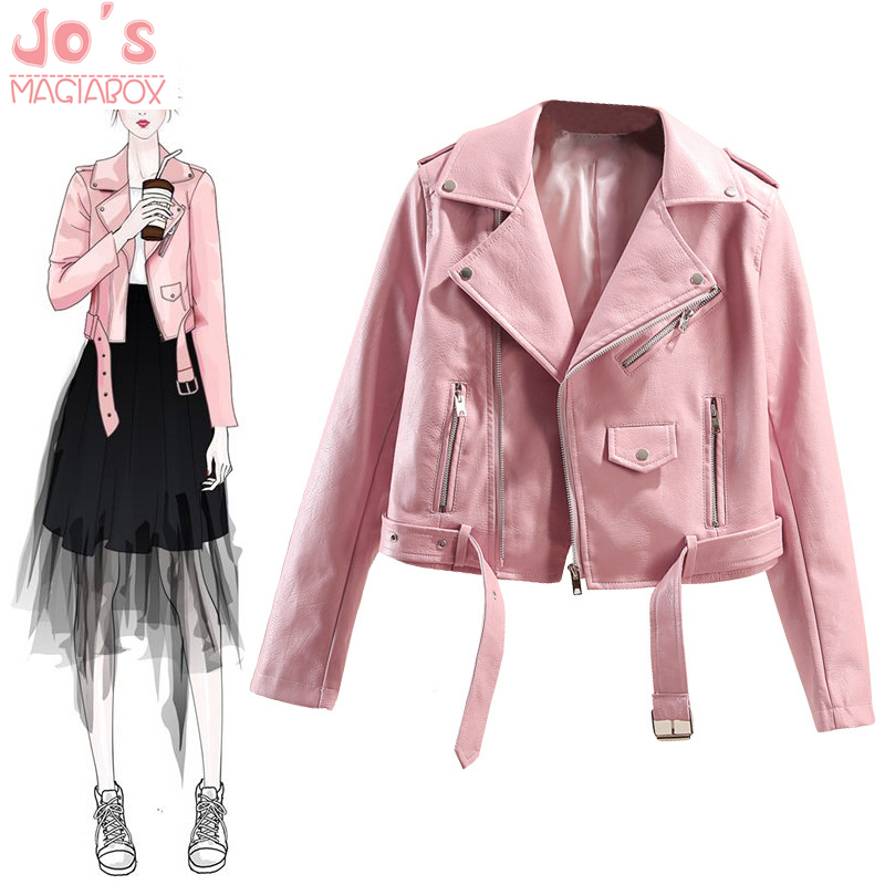 Short Faux   Leather   PU Jackets Solid Color Women Motorcycle Outerwear Slim Ladies Coats Zipper Pink Sweet Style Casual Jackets