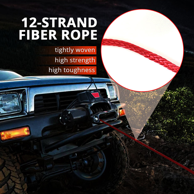 1//4/'/' x 50/'//15m Synthetic Winch Rope Cable Line for Car SUV ATV UTV Off-road Red