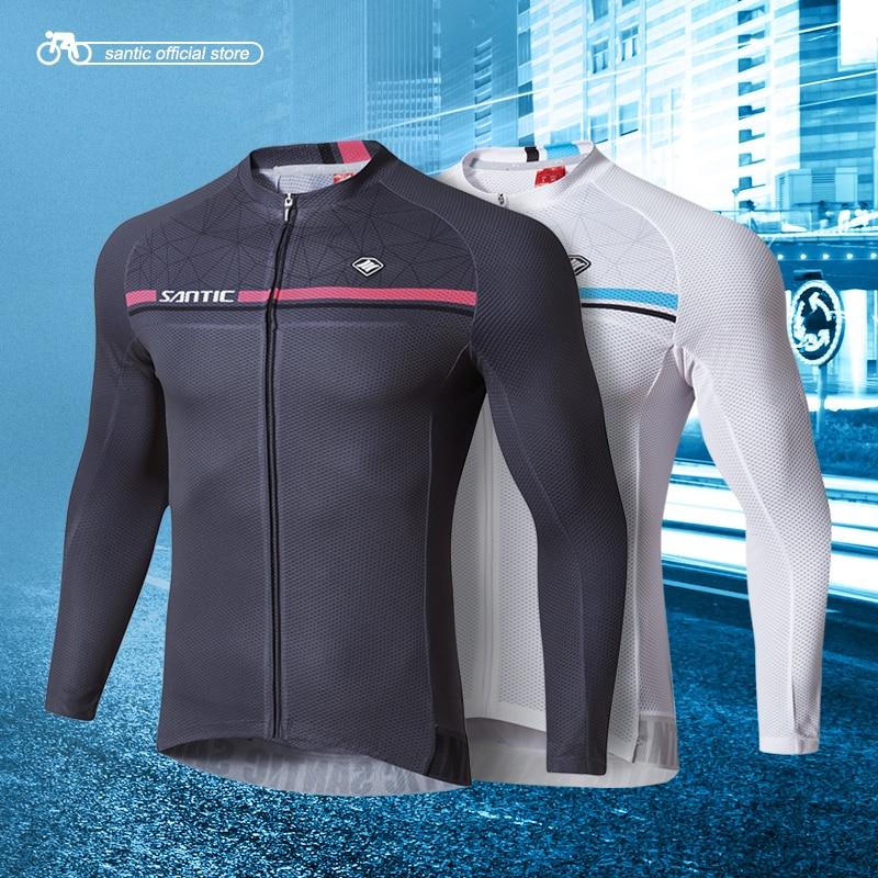 Santic Men Long Sleeve Cycling Jerseys Pro Fit Road Bike MTB Top Jersey Spring Summer Cycling Clothings WM7C01079 santic cycling jersey 2017 new men pro team mtb road bike jersey light