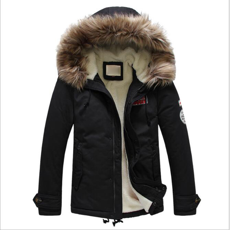 Men Fashion Winter Loose Thick Cotton Lambswool Lining Jacket Coat Warm Hooded Cotton Hooded Casual Jacket Coat Parkas