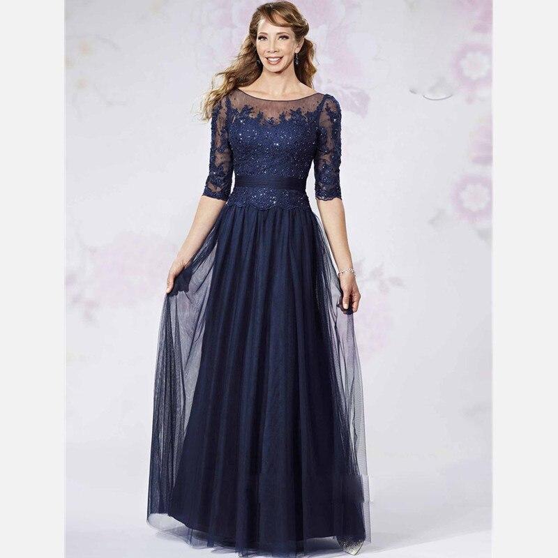 Half Sleeves Mother of the Bride font b Dresses b font Elegant A Line Navy Blue