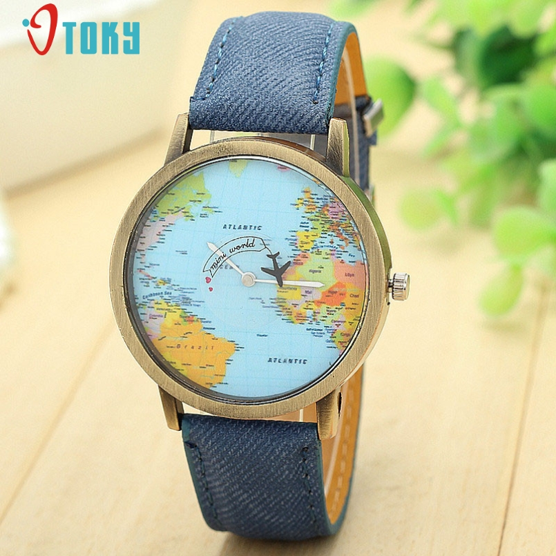 Excellent Quality Women Dress Watches Fashion Global Travel By Plane Map Denim Fabric Band Watch Women Drop Shipping Jan-6