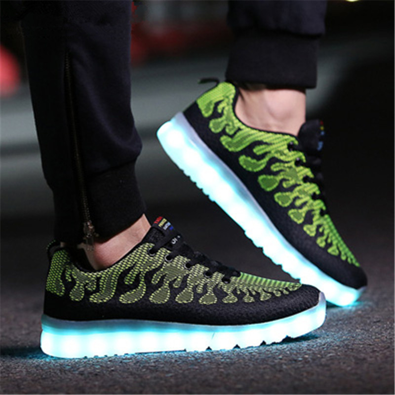 Led Shoes men New tenis led causal Shoes men flat with high top Glowing new neon Luminous Light Up USB Charge lace up Unisex