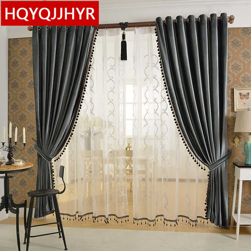 European luxury 6 color velvet curtains for Living Room Solid color velvet simple modern luxury curtains for Bedroom/Kitchen