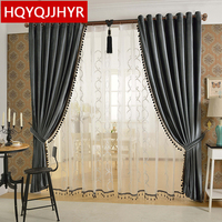 European Luxury Gray Velvet Curtains For Living Room Solid Color Velvet Simple Modern Luxury Curtains For