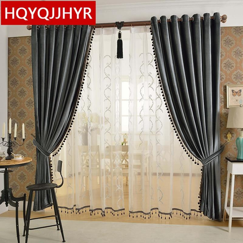 European luxury 6 color velvet curtains for Living Room Solid color velvet simple modern luxury