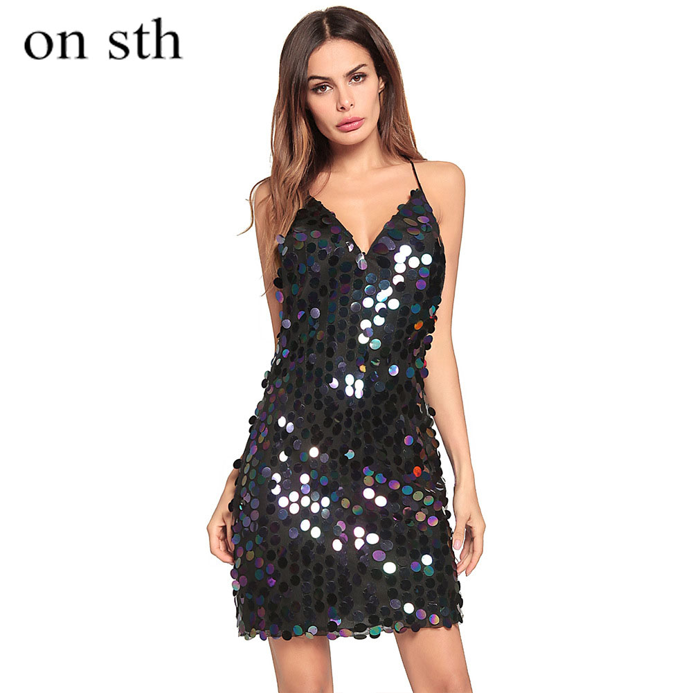 Woman Dress 2018 Spring Summer Black Sexy Woman Pencil Sleeveless Dress Sequined Solid Empire Dess V Neck Above Knee Mini
