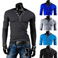 New 2014 Spring Deep V neck Ring Prong Buttons Decor Fashion Mens Shirts Casual Slim fit Long sleeve Tees & Tops M-XXL