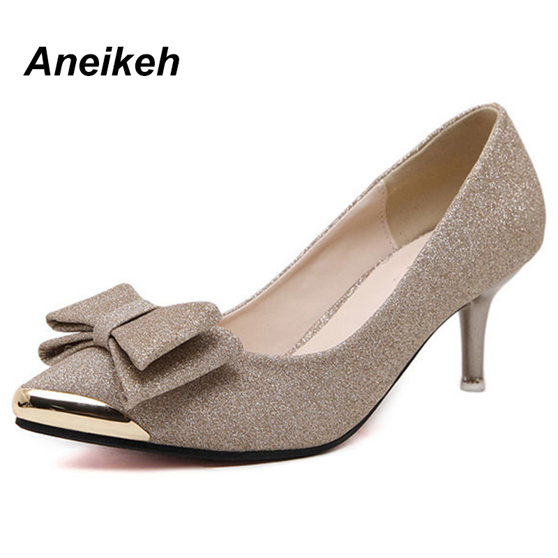 Aneikeh Women Pumps High Heels 2018 Bowknot Pointed Stiletto Work Shoes Sexy Sequins Shoe Zapatos Mujer Black Gold Silver
