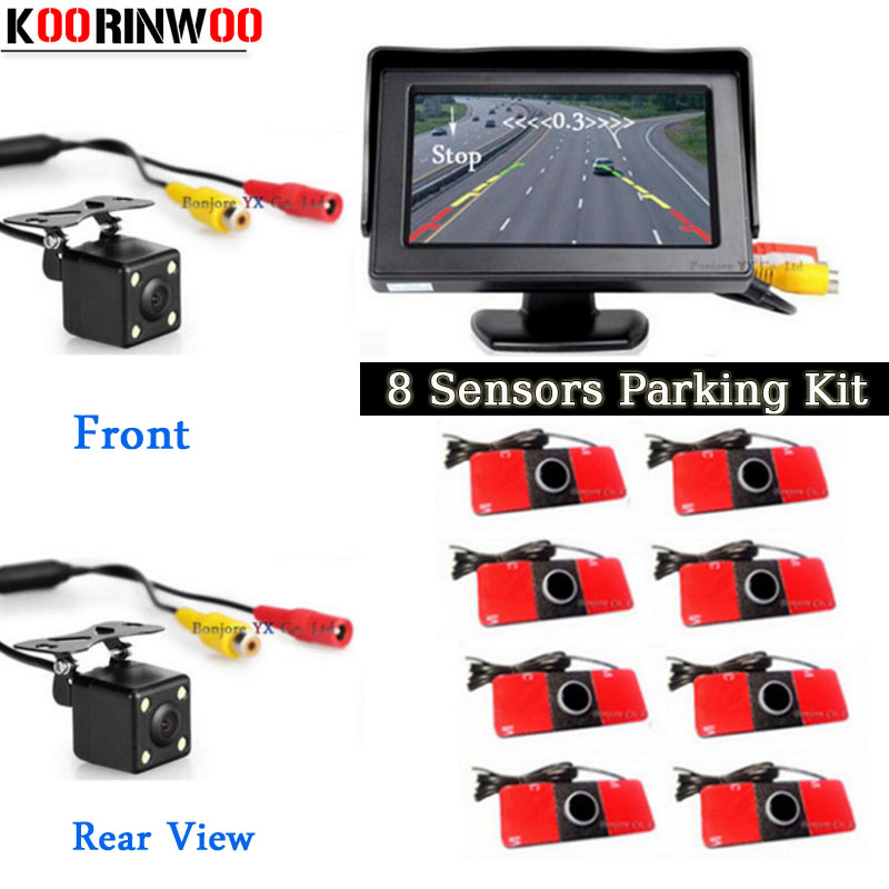 Koorinwoo Dual Core Parking Sensors 8 Assistance Car Mirror Monitor Reverse Radar Alarm Front Camera Car Rear view camera Blind koorinwoo car parking sensors 6 alarm