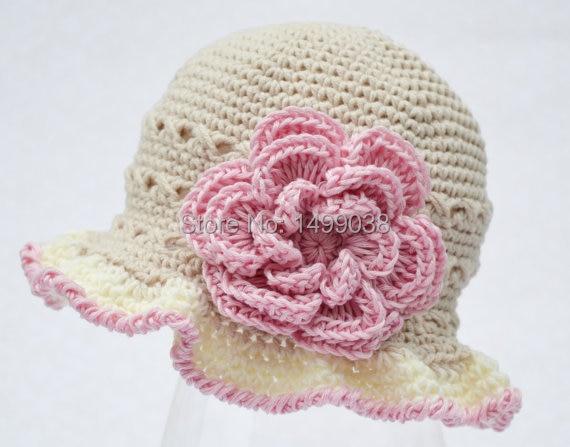 Tan Crochet Baby girl Summer Hat cc0950ba382
