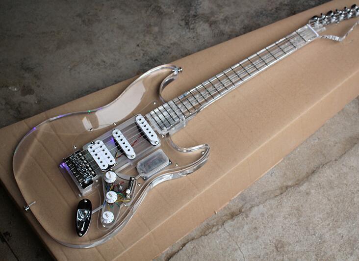 Guitare électrique en verre acrylique personnalisée avec micros SSH, 22 frettes, matériels chromés, offre d'expédition gratuite personnalisée