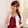 Women Bridal Wraps Short Sleeve Beaded Appliques Lace Short Jacket Shawl Jacket Bridal Wraps Spring Summer Wear O-neck White