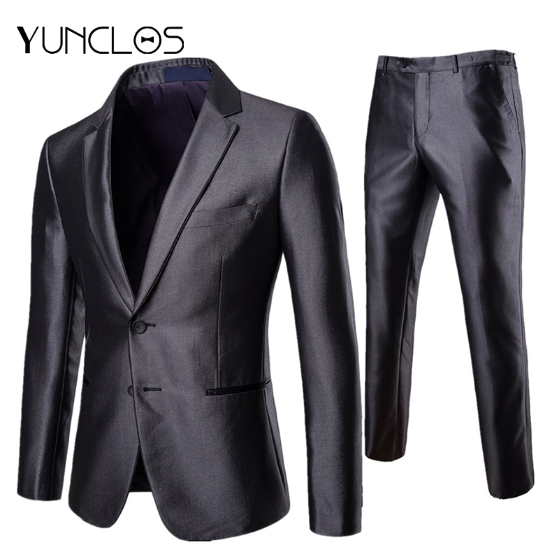 YUNCLOS  Men's Suits Dark Gray Slim Fit Suits Two Buttons Formal Wedding Suits 2 Pieces Prom Suits With Pant For Men