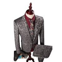 (Куртка + жилет + штаны) для мужчин Slim Fit Костюмы M-4XL Для мужчин S серебро Нарядные Костюмы для свадьбы с Брюки для девочек модное жаккардовое Б...