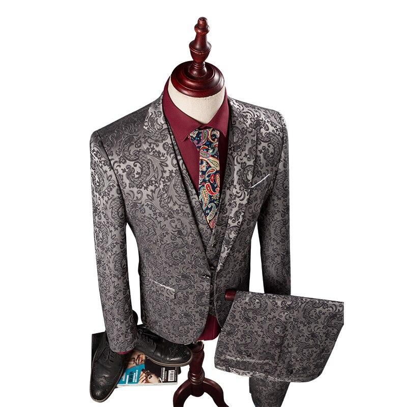 (Jacket+Vest+Pant)Men Slim Fit Suits M-4XL Mens Silver Wedding Suits With Pants Fashion Jacquard Business Men Formal Wear Tuxedo