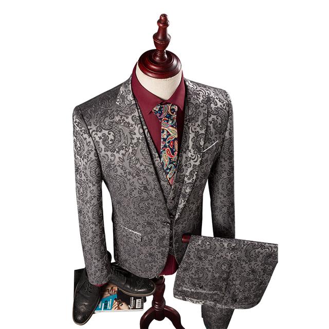 (Jaqueta + Colete + Calça) M-4XL Dos Homens Ternos Slim Fit Mens Ternos Com Calças Moda Do Casamento de Prata Jacquard Homens de negócios Smoking Formal Desgaste
