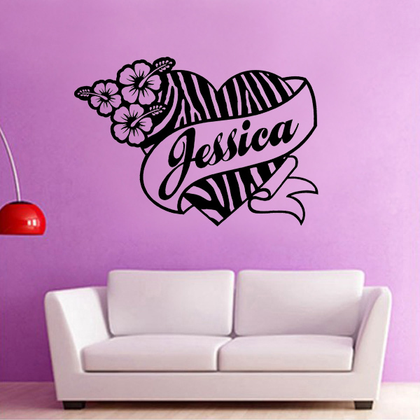 Marvelous Zebra Print Wall Stickers Part - 11: Custom Name Zebra Print Heart Wall Stickers Girl Bedroom Notebook Vinyl  Decal Quote Wall Sticker Flower