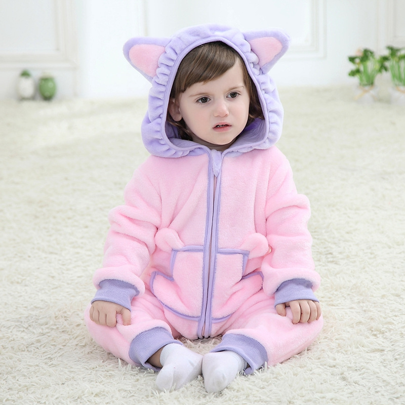 2016 New Spring Design Baby Newborn Infant One-piece Hooded Rompers Clothing Flannel Lovely Hello Kitty Cat Minions