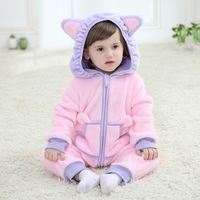 2016 New Spring Design Baby Newborn Infant One Piece Bodysuit Hooded Rompers Clothing Flannel Lovely Hello
