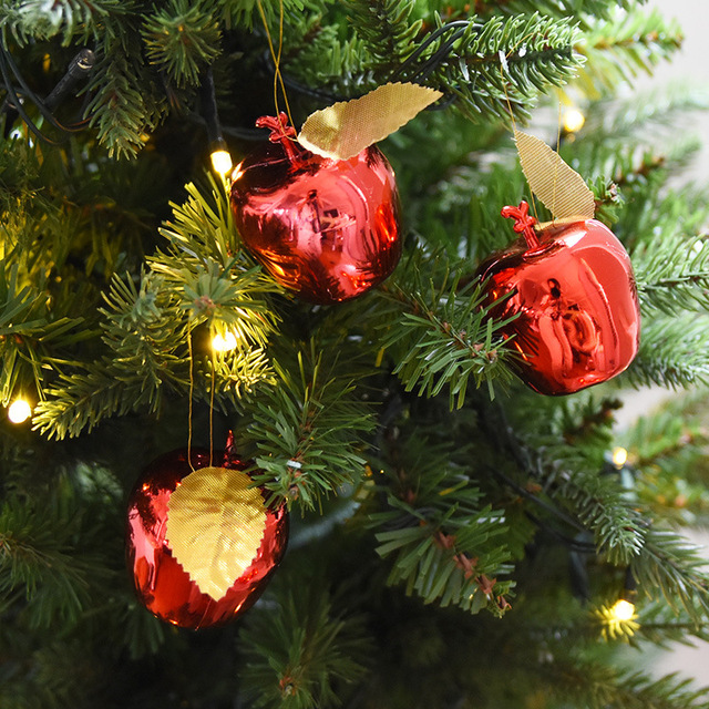12pcs red golden apples christmas tree decorations fruit pendant xmas new year hanging ornaments wedding party