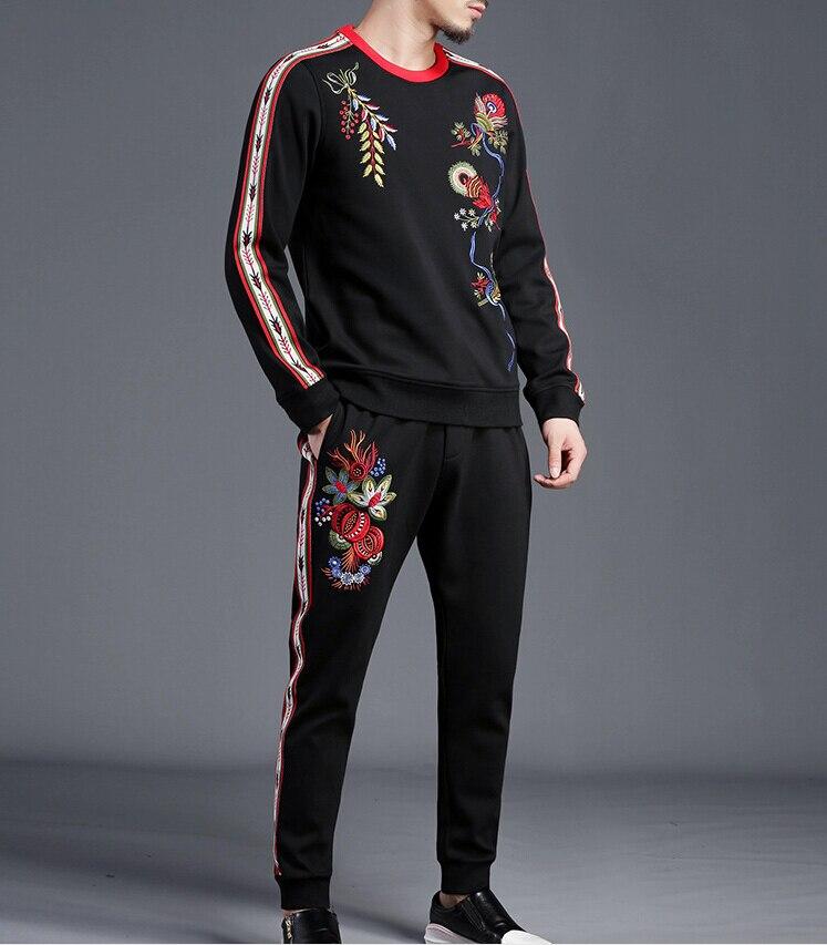 Blocco di Colore di modo Tuta Per Gli Uomini Due uomini Piece Set Sportwear Mens Vestiti di Sport Felpa 2019