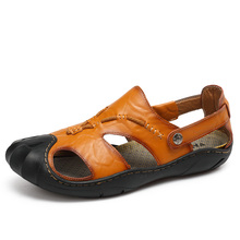 Mens Sandals Leather Beach Sandals Brand Men Casual Shoes Genuine Split Leather Sneakers Men Slippers Flip Flops Summer Shoes