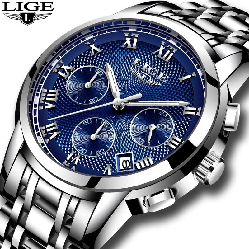 LIGE Mens Watches Top Brand Luxury Chronograph Business Quartz Watch Men Full Steel Waterproof Sports Watches Relogio Masculino
