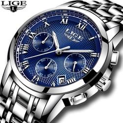 LIGE męskie zegarki Top marka luksusowy chronograf biznes kwarcowy zegarek mężczyźni pełna stal wodoodporne zegarki sportowe Relogio Masculino