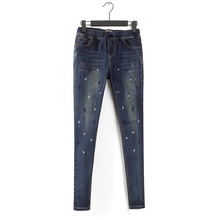 2017 Jeans Women's clothing Spring Autumn New Embroidered fish Elasticity Self-cultivation Was thin Small Feet pants Trousers