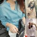 Otoño nueva llegada 2015 más el tamaño de las mujeres flojas camisa de lino fluido camisa de manga larga camiseta informal femenina barata ropa de china